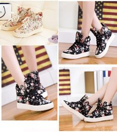 Women's Girls High Top Canvas Floral Lace-Up Sport High Platform Shoe Sneakers