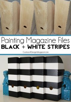 Easy and cheap update: painting IKEA magazine files black and white stripes