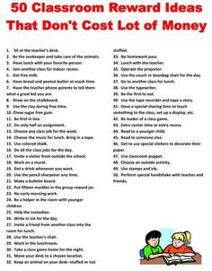 ★☯★ 50 #Classroom #Reward #Ideas That Don't Cost A Lot of Money ★☯★  A simple list of classroom reward ideas which can be use as a positive #reinforcement #aide in the classroom.   #creative #Math #learning  #OMG #inspirational #inspiration #tips #Trick #Goodies #Stuff #teaching #resource   #Funny #Fun #amazing