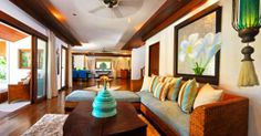 Exotic materials mix with Caribbean inspired styles to create a tropical feel in this room.