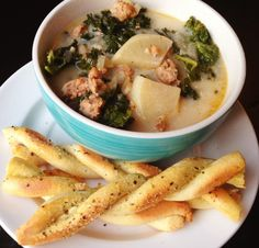 Paleo Zuppa Toscana Soup and Breadsticks*  @Anne Dann Cupboard & @VS.me