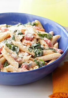 Creamy Spinach & Pasta Skillet — Cream cheese, diced tomatoes and garlic give this quick, easy spinach and pasta skillet its creamy sauce and terrific flavor.