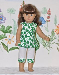 American Girl Doll Clothes White Green Shamrock Print Top White Matching Pants 2pc Set. $14.99, via Etsy.