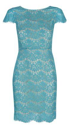 Turquoise Lace Pencil Dress