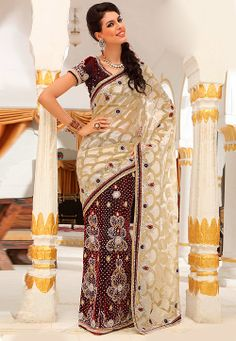 Beige and Maroon Brasso Net Lehenga Style Saree with Blouse @ $320.08