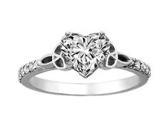Heart Shape Diamond Celtic Knot Engagement Ring with Diamond Accents in 14K White Gold