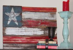 Upcycled flag from wood scraps. America + junk = love.