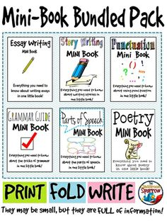 Looking for some quick references for your students? Help your students improve their writing skills with these six mini books: grammar, punctuation, parts of speech, story, poetry and essay writing! #English #Writing #Foldable