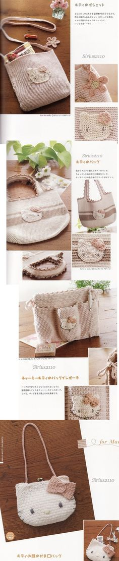 Hello Kitty crochet bags - full patterns at: http://keep4u.ru/full/1d0c2f814b1eec686be3365533ae09b3.html
