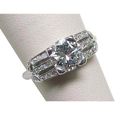 Platinum Art Deco Diamond Engagement Ring,1.20 CARATS! Circa 1920's