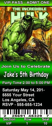 The Incredible Hulk Cartoon Birthday Party Invitations 2.5 x 6 inch Ticket Style Personalized parti invit, birthday party invitations, cartoon birthday, birthday parties, hulk parti, birthdays, birthday idea, 5th birthday, hulk birthday