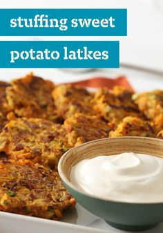 "Stuffing Sweet Potato ""Latkes""-- For a new take on latkes, skillet-cook a mixture of shredded sweet potatoes and savory stuffing mix to golden brown perfection and serve with sour cream.  Follow Eggland's Best at www.pinterest.com/egglandsbest for more delicious ideas, fun things in the kitchen and other eggciting things!"