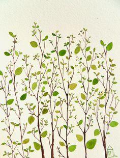 Garden - original watercolor  Zuhal kanar via Etsy.