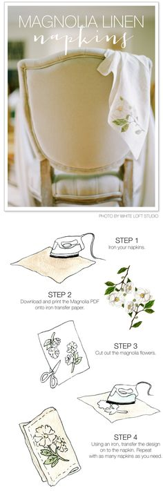 DIY Magnolia Napkins | For the Holidays - or the truly DIY Bride! Read more - http://www.stylemepretty.com/living/2012/11/11/smp-at-home-diy-magnolia-napkins/