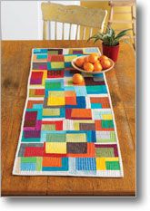 Quilted table runner. quilting patterns, tabl runner, fall project, window improv, colorful quilts, windows, malka dubrawski, table runners, bright colors