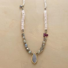 MISTY NECKLACE -- Rainbow moonstone and rose quartz glow above garnet briolettes, pyrite, 14kt goldplated beads and iridescent labradorite, shimmering like water. Sterling silver toggle. Sundance