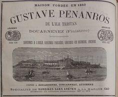 Concarneau. Publicité Gustave Penanros, sardines à l'huile, sardines pressées, sardines en samure, anchois. 1882.