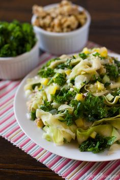 Healthy Zucchini Kale Fettuccine by foolproofliving #Pasta #Zucchini #Kale #Healthy
