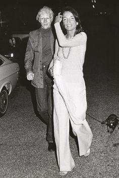 Lee Radziwill wearing Halston with Andy Warhol, 1970's.