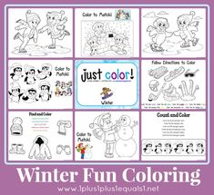 Winter Fun Coloring Printables {free} from @{1plus1plus1} Carisa