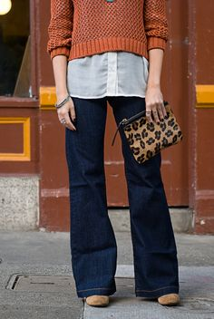 Trouser jeans, white button down under cropped sweater, and leopard bag ! Love orange and leopard !