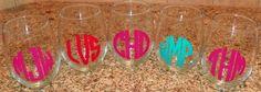 Monogrammed Stemless Wine Glass. $7.75, via Etsy.