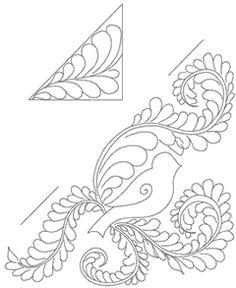 FREE PATTERN: Bird Feather Quilting Motif Quilt Motif, Quilting Motif, Embroidery Patterns, Quilting Patterns, Free Motion, Bird Feather, Birds, Quilt Pattern, Feather Quilt