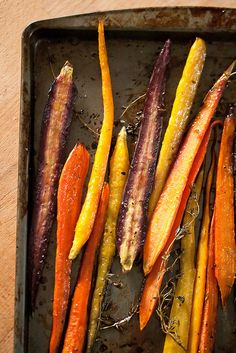 Honey-Balsamic Roasted Carrots by Isabelle - super simple, super tasty -works w regular carrots too