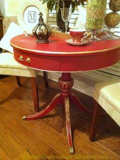 Annie Sloan Emperor's Silk Red Chalk Paint Table Makeover, gold gilding wax, tutorial, dark wax, diy