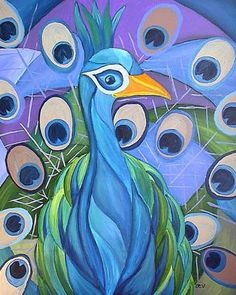 Peacock Art Deco Cubist Print on Canvas by Kristen Stein