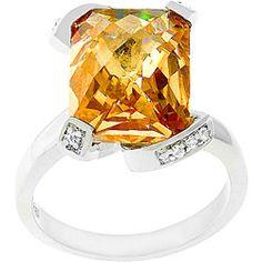 Kate Bissett White Gold Rhodium Bonded Champagne Cubic Zirconia Ring