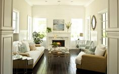 furniture arrangement, living rooms, fireplac, floor, color, beach houses, living room designs, live room, white wall