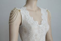 Shoulder Epaulettes, Bridal Wedding ,Ivory Pearls And Rhinestone, 1920 Inspiration,Dress Sleeves Accessories,Shoulders Necklace,OOAK, ISRAEL. $250.00, via Etsy.