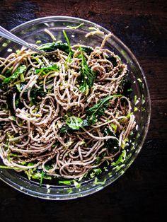 Soba Noodles with Kale, Sesame and Slivered Brussels Sprouts. #food #noodles #dinner
