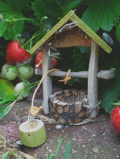 Fairy Magic Working Wishing Well Miniature Folk Art