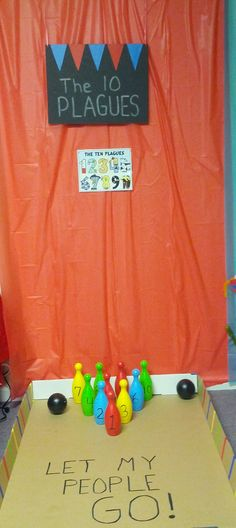 In this game the kids will learn what the 10 plagues were.The bowling ball pins are numbered. When the kids knock down the pins they tell me which plague goes with the number on the pins.