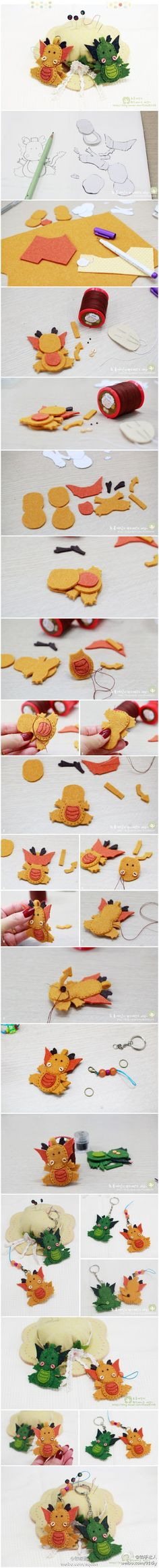 A simple tutorial on how to design your own felt ornaments, watch how to make your own felt dragons.