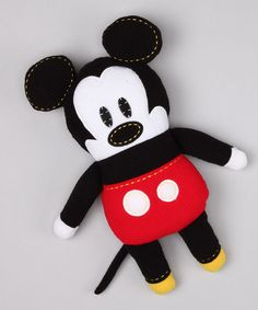Perfect in lieu of a gift bag!! I would tie a mickey shaped lollipop around his neck and voila! Something they will keep and not throw away!   Take a look at this Mickey Mouse Plush Toy by Story Time Classics: Toys & Books on #zulily today!