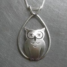 dew drop starry-eyed owl necklace $135