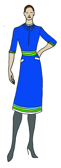 Uniform design in Transavia Colours, with belt (optional if you want to put emphasis on your narrow waist) - hourglass and pear figures.