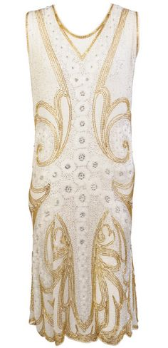 Evening Dress Made Of White Cotton, Handed Beaded With Gold, Silver, Crystal And White Beads - French c.1920's