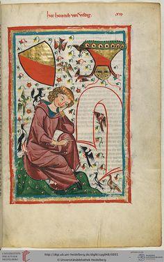 Codex Manesse, Herr Heinrich von Veldeke, Fol 30r, c. 1304-1340