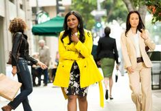 A mellow floral dress with a bold yellow trench for that perfect pop!