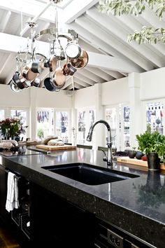 Hanging Pots & Pans with a vaulted ceiling