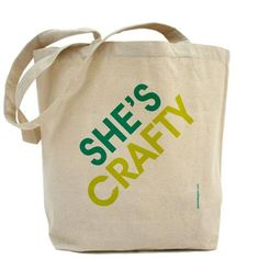 a little love for MCA: She's Crafty Canvas Tote Bag by PamelaFugateDesigns on Etsy, $34.95