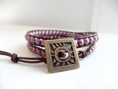 Hip to be Square Czech Glass Bracelet  Beaded by JulieEllynDesigns, $39.75