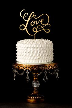 Love Wedding Cake Topper in Gold