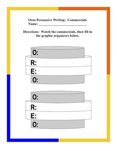 Persuasive Writing Lesson with OREO acronym Free