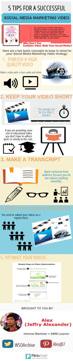 """SOCIAL MEDIA -         """"5 tips for making a successful social media marketing video. For more Social Media tips and resources visit www.socialmediamamma.com Video marketing infographic""""."""