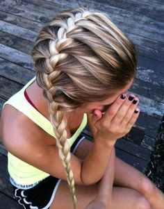 french braids, color, long hair, teen hairstyles, braid hairstyles, girl hairstyles, softball hair, summer hairstyles, teen girls